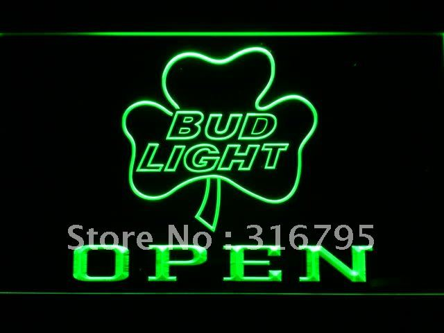 664 Bud <font><b>Light</b></font> Shamrock OPEN Beer Bar LED Neon Sign with On/Off Switch 20+ Colors 5 Sizes to choose