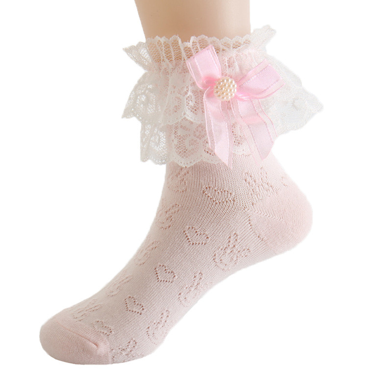 Lace Socks For Girls White Short Socks Children's Summer Bows Kids Sock Cheap Stuff Baby Clothes Accessories For 8 Years Old
