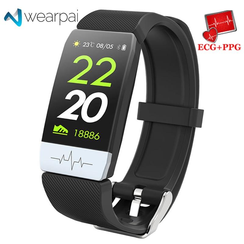 Wearpai Q1S Inteligente Pulseira Sono Monitor de ECG + PPG Rastreador De Fitness Bandas Assistir Tempo de Pressão Arterial Inteligente À Prova D' Água para o Esporte