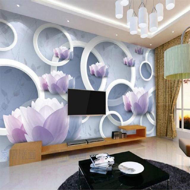 Naadloze mooie bloemen custom mural behang slaapkamer moderne ...