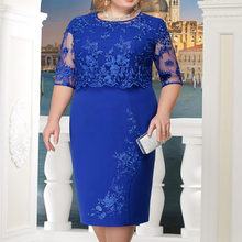 2019 Plus Size Summer Women O Neck Short Sleeve Lace Slim Dress Crochet Pencil Evening Party Loose Solid Midi Dress Vestido LKP(China)