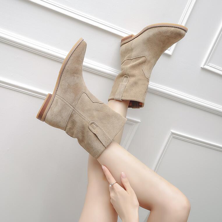 Kobiety prawdziwej skóry mody botki krótkie pluszowe gruba ostrzegają śniegowe buty prawdziwe skórzane nie pluszowe wiosna jesień buty 6 w Buty do kostki od Buty na  Grupa 3