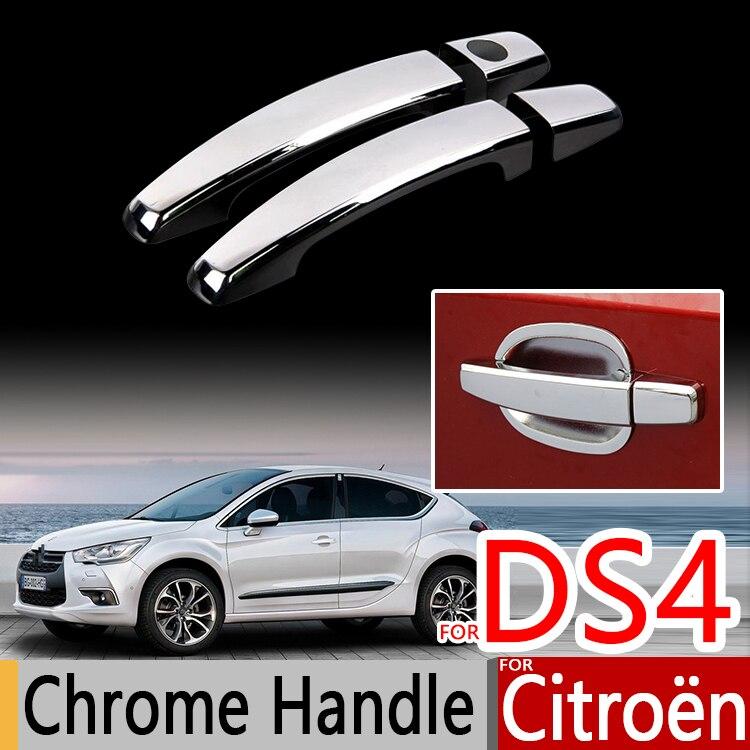 Prix pour Pour Citroen DS4 Chrome Poignée Couvre L'équilibre Set de 2 CFP avant Porte DS 4 Crossback Accessoires De Voiture Autocollants De Voiture Style 2010-2016