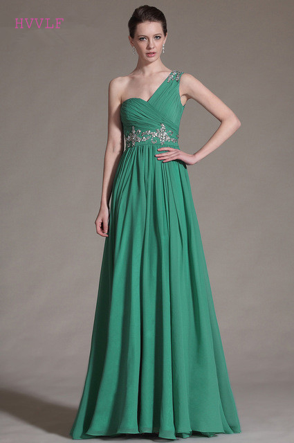 Green   Evening     Dresses   2019 A-line One-shoulder Chiffon Beaded Long Formal Party   Evening   Gown Prom   Dresses   Robe De Soiree