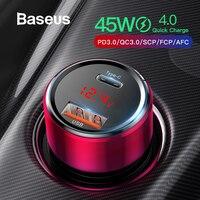 Baseus Quick Charge 4,0 3,0 Автомобиля Зарядное устройство для Xiaomi mi-9 (США); красные mi Note 7 Pro 45 Вт PD быстрое зарядное устройство для телефона в автомобиль ...