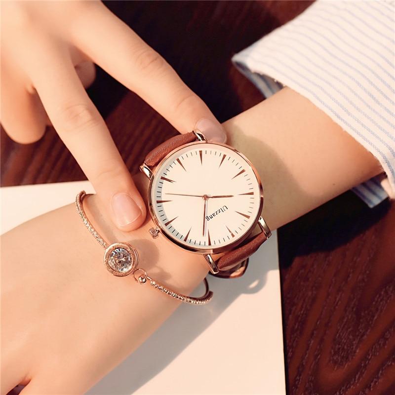 Utsökt enkel stil kvinnor tittar lyx mode kvarts armbandsur droppe - Damklockor - Foto 3