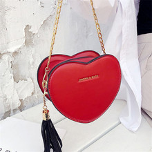 Love Shoulder Bag New 2019 Fashion PU Leather Funny Messenger Bag Tassel And Chain Crossbody Bag for Women Cute Leisure Bag
