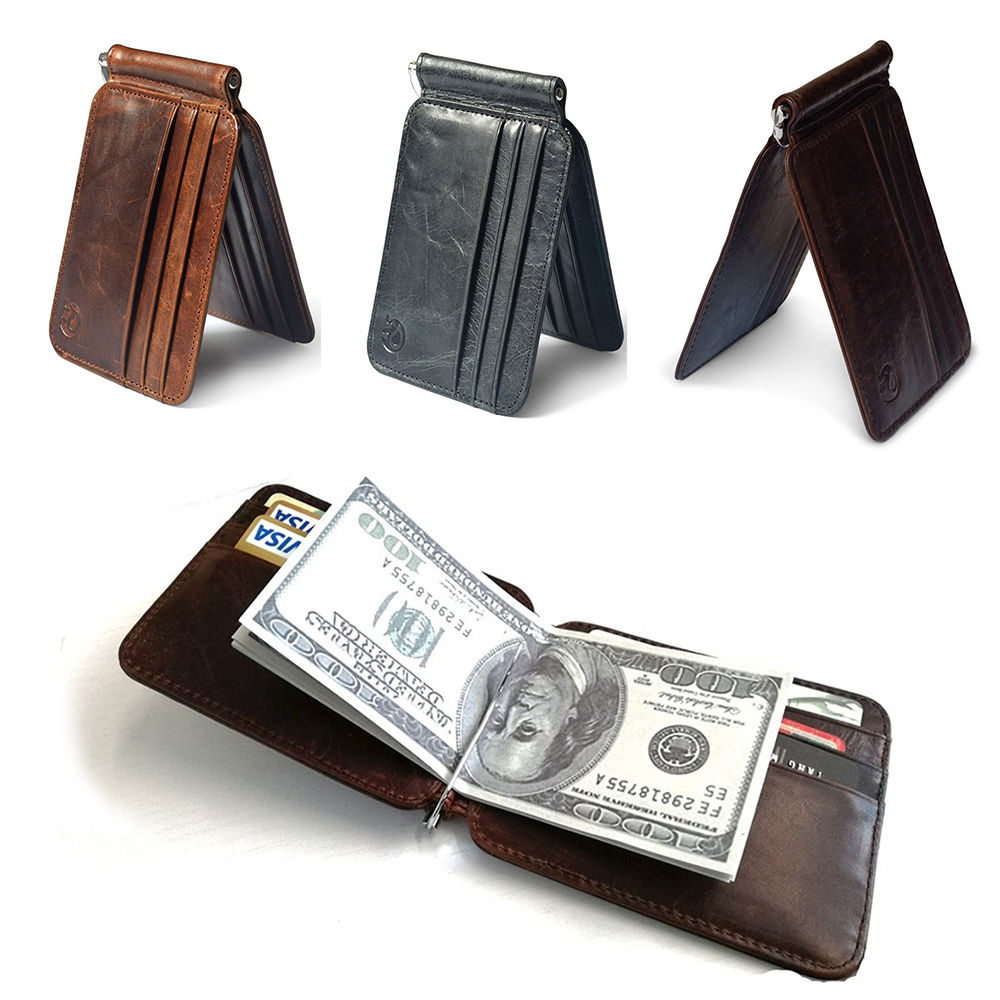 все цены на Thin Billfold Vintage Wallet Men Money Clips PU Clamp for Money Holder Credit Card Case Cash Clip 12 Card Pocket