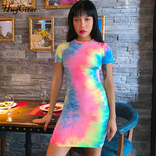 Hugcitar tie dye print short sleeve 2019 summer autumn women fashion party streetwear colorful bodyon mini t shirt dress foliage print self tie shirt dress