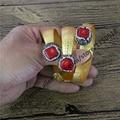 Natural red coral bangle pave cz around gold plated adjustable vintage retro bangle bracelet  fashion druzy bangle  cz085