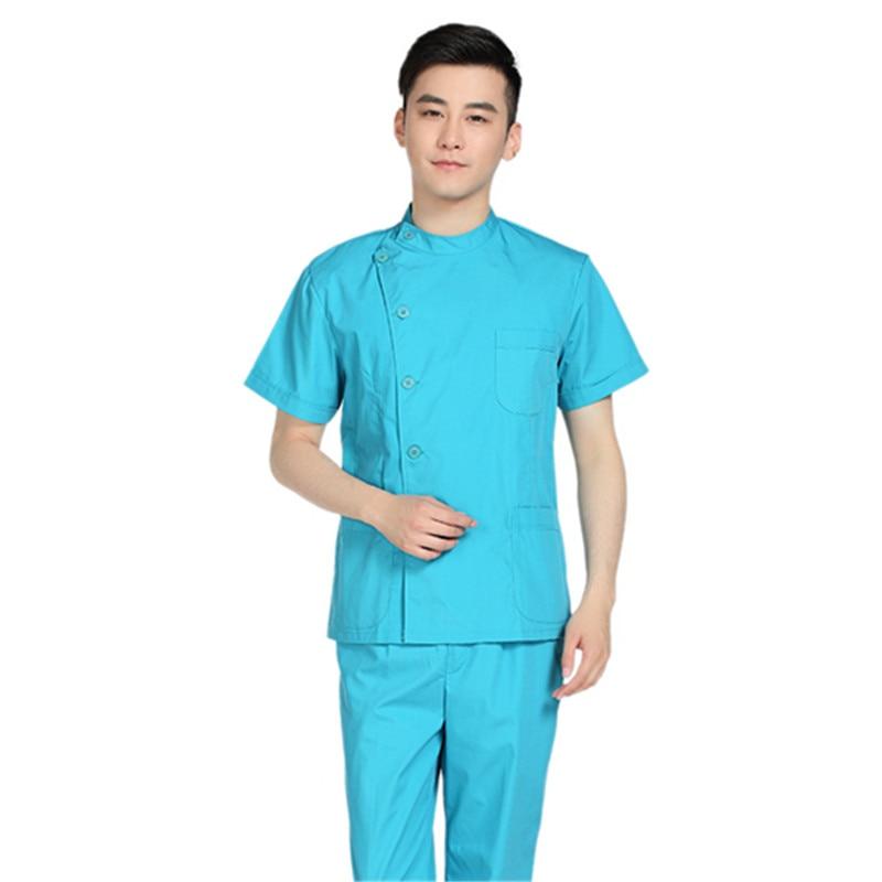 New Men Medical Scrub Sets Hospital Doctor Uniforms Dental Clinic Beauty Salon Short Long Sleeve Surgical Scrubs