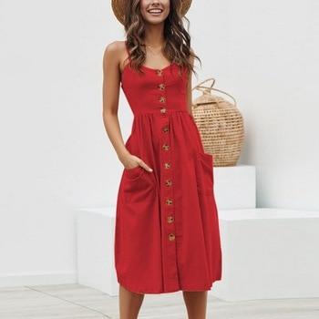 CALOFE Women Summer Dress 2019 Sexy Straps Bohemian Floral Beach Dress Girls Fashion Red Pocket Holiday Sundress Boho Vestidos