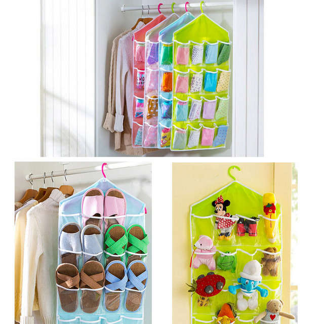 Merveilleux Multifunction Clear 16 Pockets Socks Shoe Toy Underwear Sorting Storage Bag  Door Wall Hanging Closet Organizer