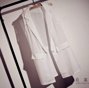 2015 Mujeres del verano elegante casual chaleco de la gasa traje de chaleco sin mangas del chaleco de Las Señoras Chaleco blanco y negro
