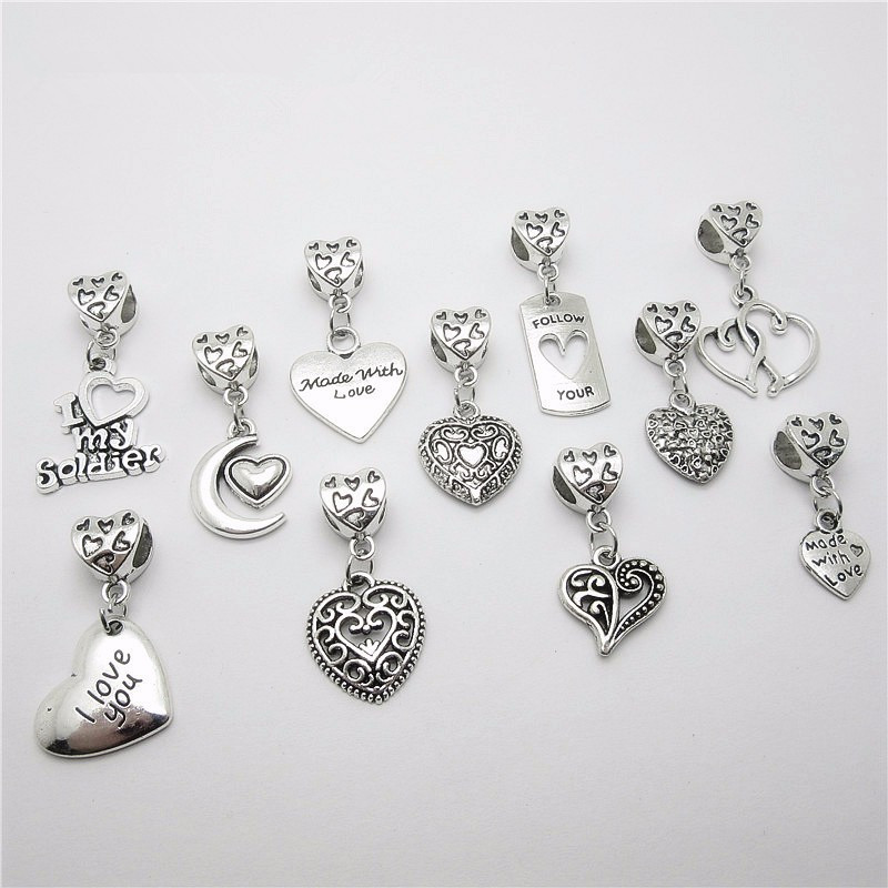 New mix 22pcs Tibetan silver charms European bead fit Pandora heart Charm Bracelets Necklace DIY Metal Jewelry Making