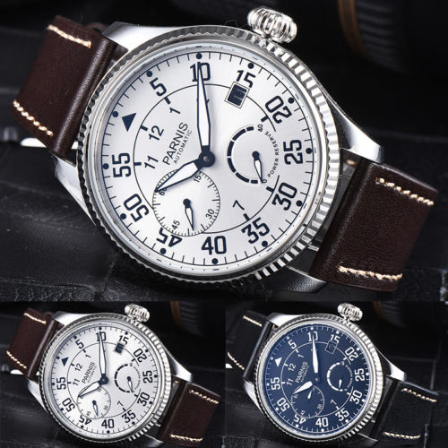 2018 Valentines gifts 45mm parnis Black White Dial Sweet Luminous Marks Power Reserve seagull Automatic Mechanical men's Watch hot sale 46mm parnis black dial power reserve white marks automatic men wrist watch