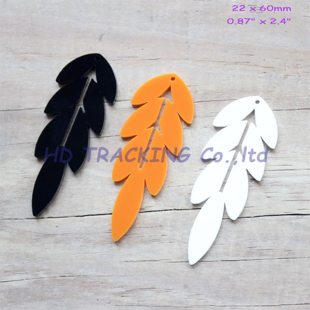 (3colors,24pcs/lot) 60mm Acrylic Earrings Lace Orecchino Leaf Shape Black, White,Orange Laser Cut 2.4 -AC1315
