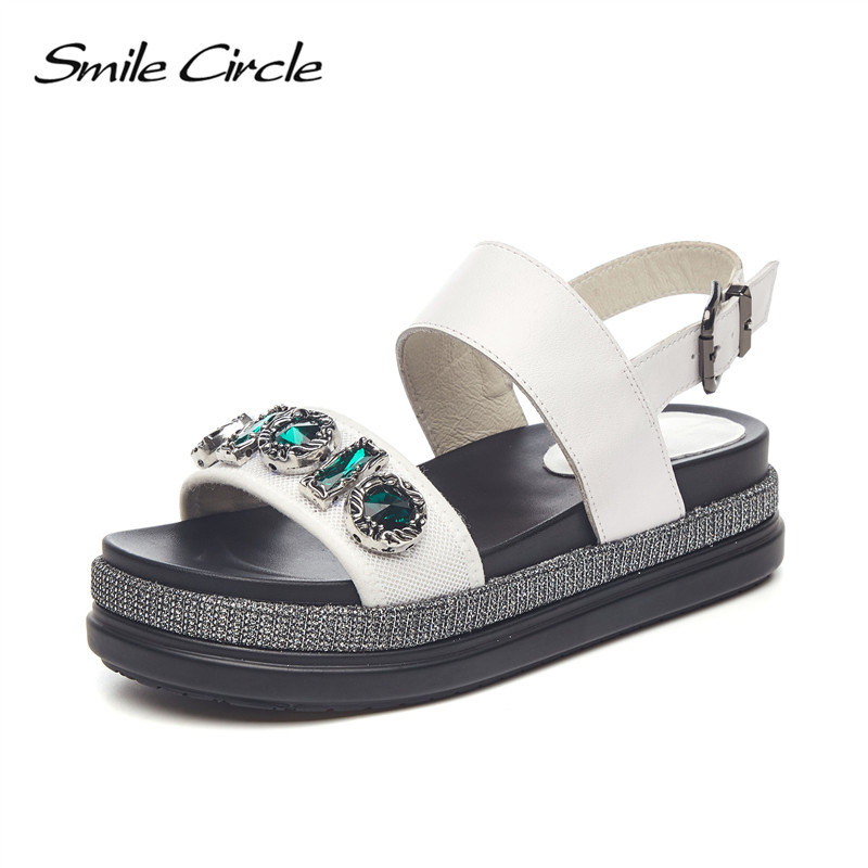 Smile Circle Summer sandals Women Fashion Rhinestone Flat platform Shoes For Women Flat sandals chaussures femme ete 2018