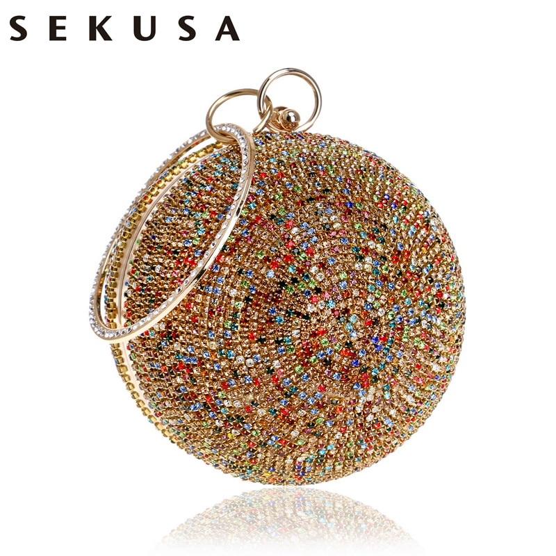 SEKUSA New Arrival Women Evening Clutch Purse Diamonds Colorful Lady Round Shaped Chain Shoulder Wedding Handbags Crystal Purse