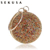 SEKUSA New Arrival Women Evening Clutch Purse Diamonds Colorful Lady Round Shaped Chain Shoulder Wedding Handbags Crystal Purse