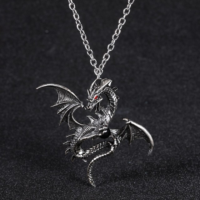 2018 Vintage Dragon Punk Pendants & Necklaces dragon bead Chain Gift Women  Crystal Jewelry 4