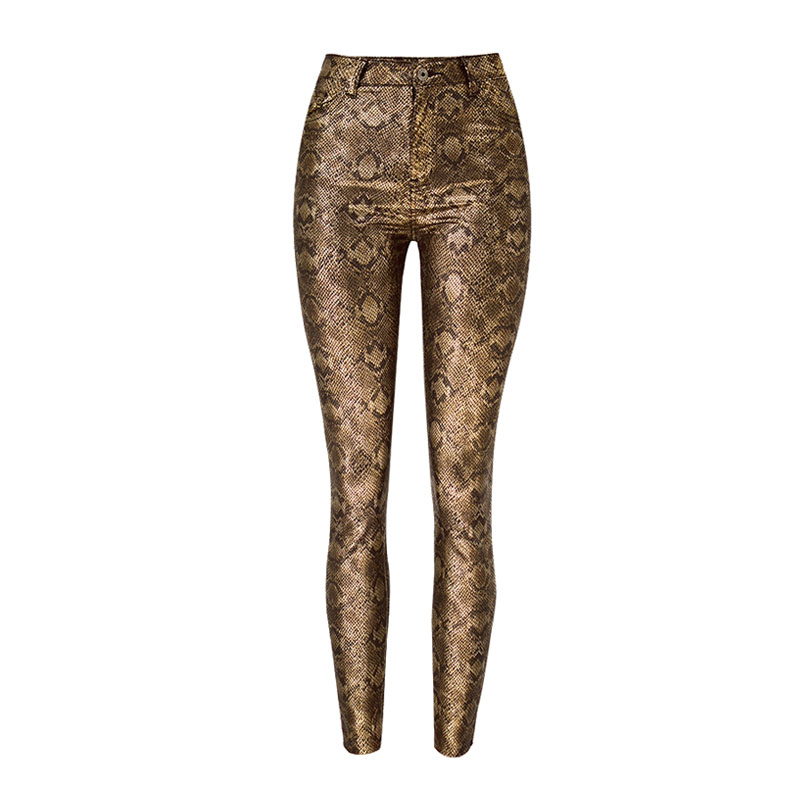 Women's Clothing Women High Waist Pu Leather Pencil Pants Snake Skin Single Breasted Button Velvet Faux Leather Trousers Stretch Winter Plus Size