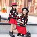 Meninas Nova Moda Primavera Filha Pai-Filho de Pai-Filho Outfit Coreano Duas Peças Conjuntos de Roupas Crianças Quentes Branco preto Dos Desenhos Animados