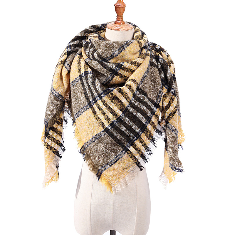 OLOME 2019 Designer Knitted Winter Scarf For Women Plaid Warm Cashmere Scarves Shawls Female Blanket Triangle Pashmina Stole