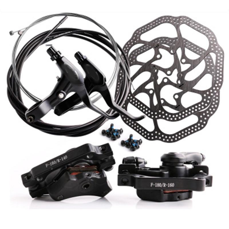 DISK brake set mountain bike bicycle brake mechanical line pulling disc brake with front Caliper rear Caliper 160mm cable set