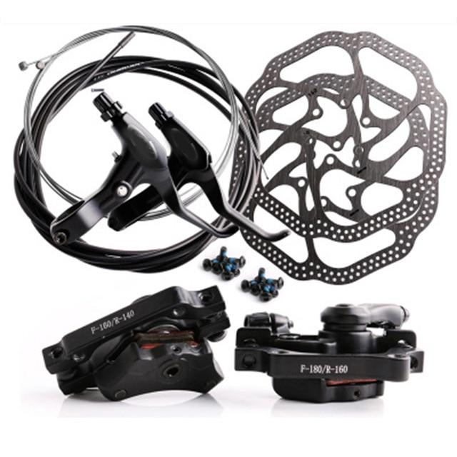 Juego de frenos de disco de bicicleta de montaña, freno de línea mecánica, freno de disco con pinza trasera delantera, cable de 160mm conjunto