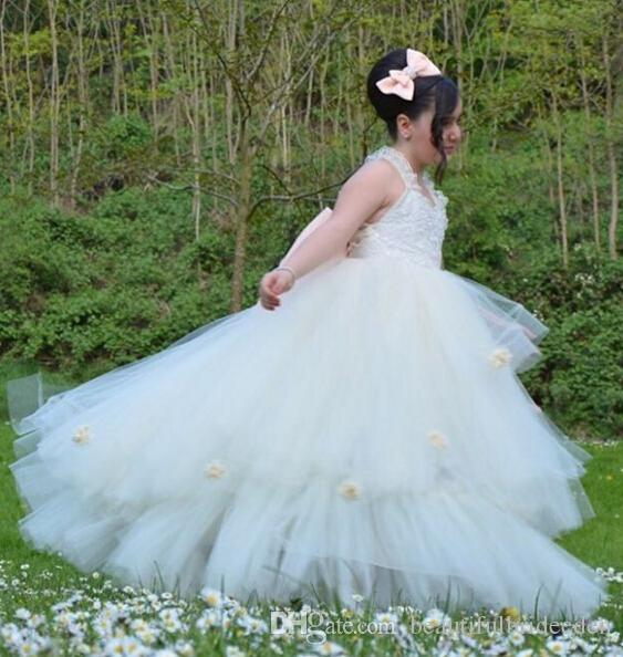 2019 In Stock Cheap Price   flower     girl     dresses   for weddings Real Sample Romantic Tulle   girl  -  dresses   bouquet pageant   dresses