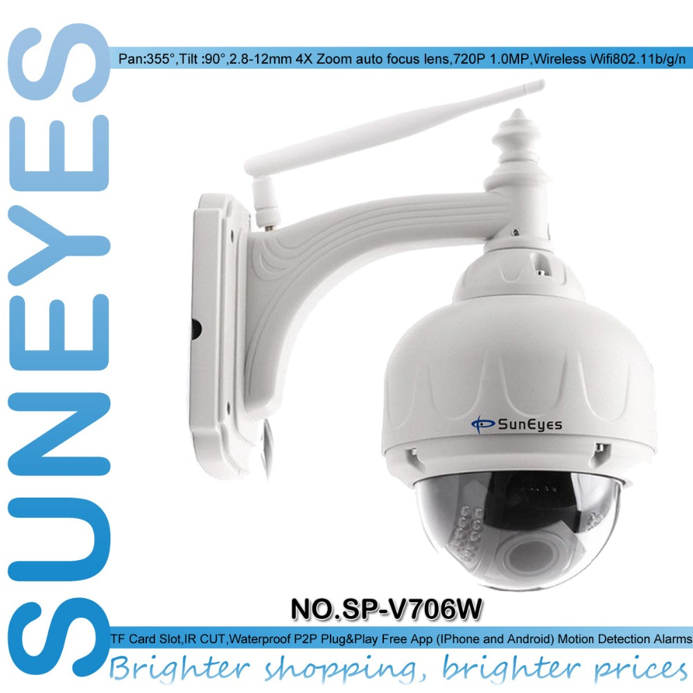 SunEyes SP-V706W Wireless PTZ Dome IP Camera Outdoor 960P/1080P HD with 2.8-12mm Optical Zoom Auto Focus Low Lux IR Night suneyes sp p906wz 960p 1 3mp hd ptz wireless wifi ip camera dome outdoor 2 8 12mm optical zoom with tf micro sd slot super night