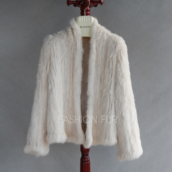 2019 Fashion New Women Genuine Real Rabbit Fur Knitted Coat Jacket Long Sleeves Knit Real Fur Jackets RJ0001