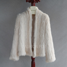 WOMEN FASHION GENUINE RABBIT FUR KNITTED COAT JACKET LADIES STYLISH LONG SLEEVES SOLID KNIT GILETS TOPS BLOUSE