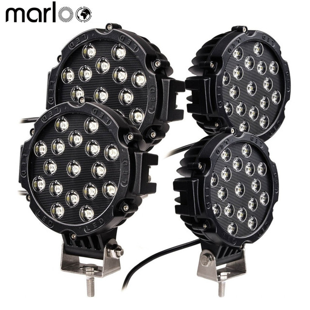 "Marloo 4pcs 51w 7"" Spot LED Light Work Light Off Road Driving Fog Lights For Jeep Wrangler , Off-road, Truck, Car, ATV, SUV"
