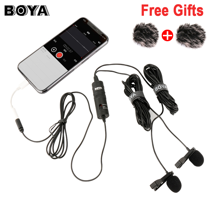 BOYA BY-M1DM Dualhead Lavalier Microphone Omni-directional Clip-on Lapel Video Mic for iPhone Canon Nikon DSLR,Updated of BY-M1