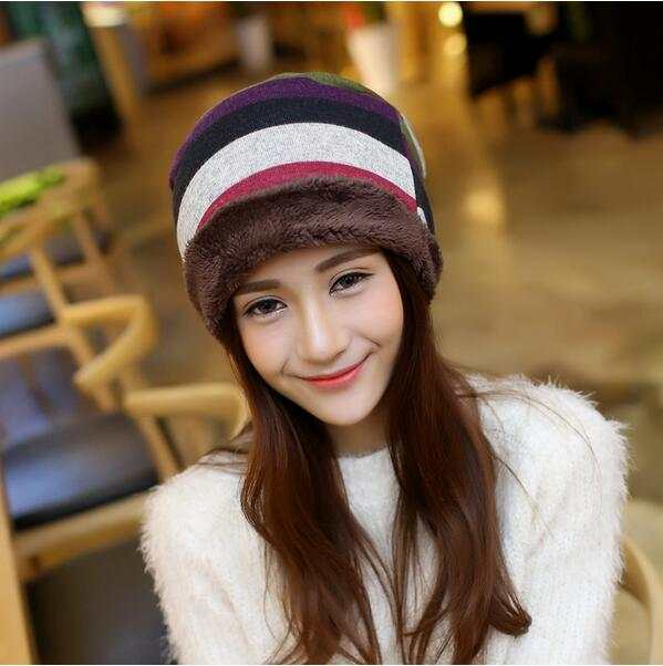 Online Shop 10 pieces lot Winter warm head hood hat fashion Korean men and  women general hat striped knitted hat  bfaa57fb98f