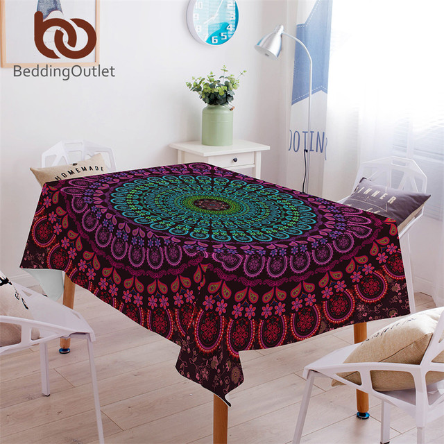 BeddingOutlet Mandala Tablecloth Waterproof Rectangle Dinner Table Cloth  Boho Bohemian Decoration Table Cover For Weddings Home