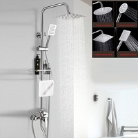 Homedec 8 Bath Exposed Rain Shower Head Bathroom Faucet Shower Mixer Tap System Set With Shelf and towel ring
