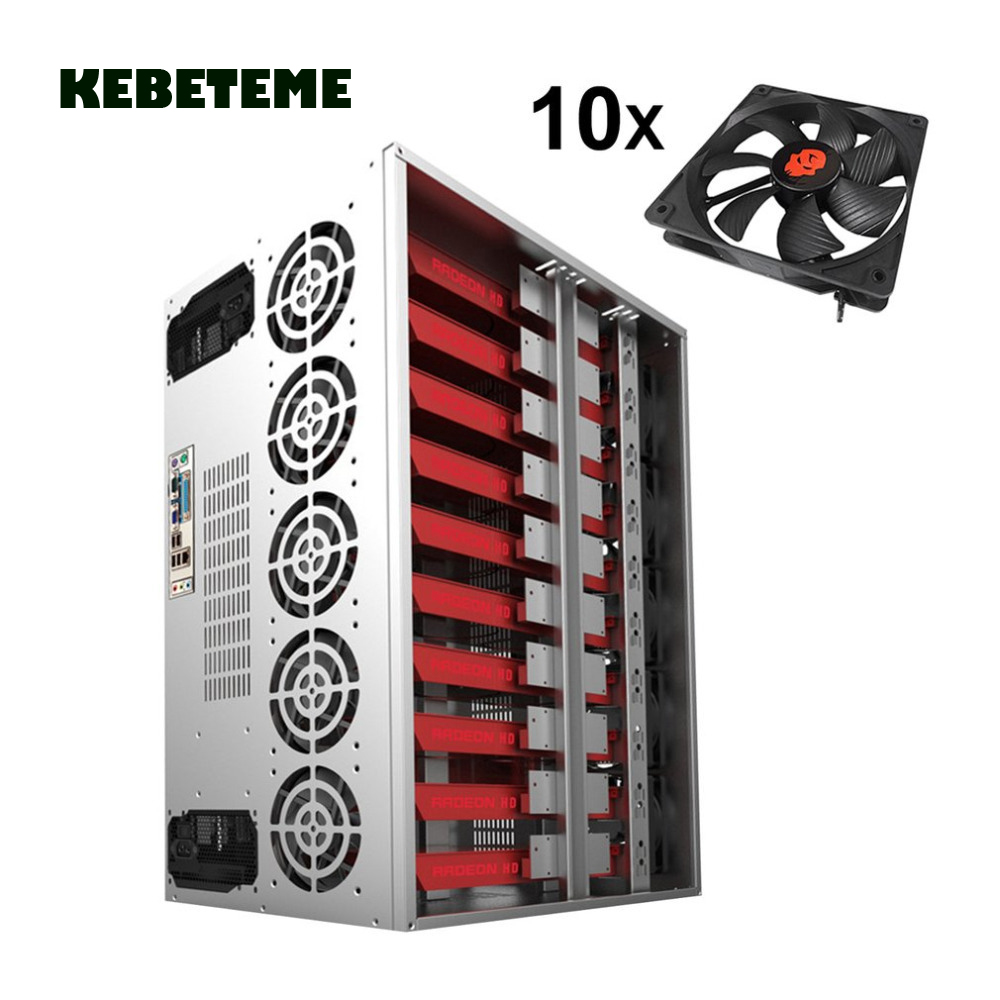 14 GPU Stackable Open Air Fan Frame Mining Miner Rig Case BTC Ethereum 12 Fans