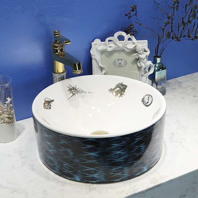 Waschbecken Blau runde form europa vintage style aufsatzbecken waschbecken