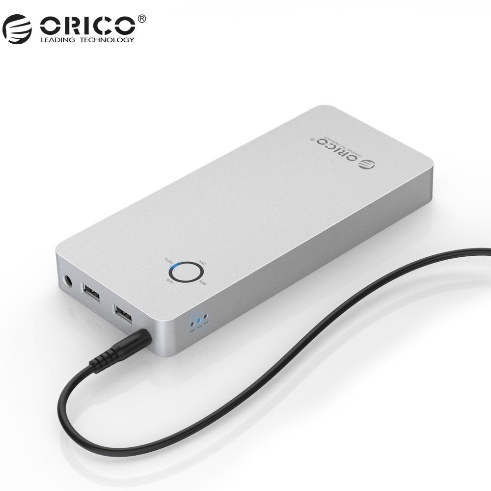 ORICO Aluminum Alloy Power Bank 28800mAh Dual USB Output One DC 12 15 19V Port Power