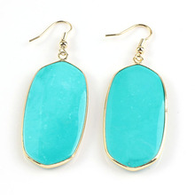 YGB 1 Pair 18K Gold     Turquoise oval earrings elegant women's earring