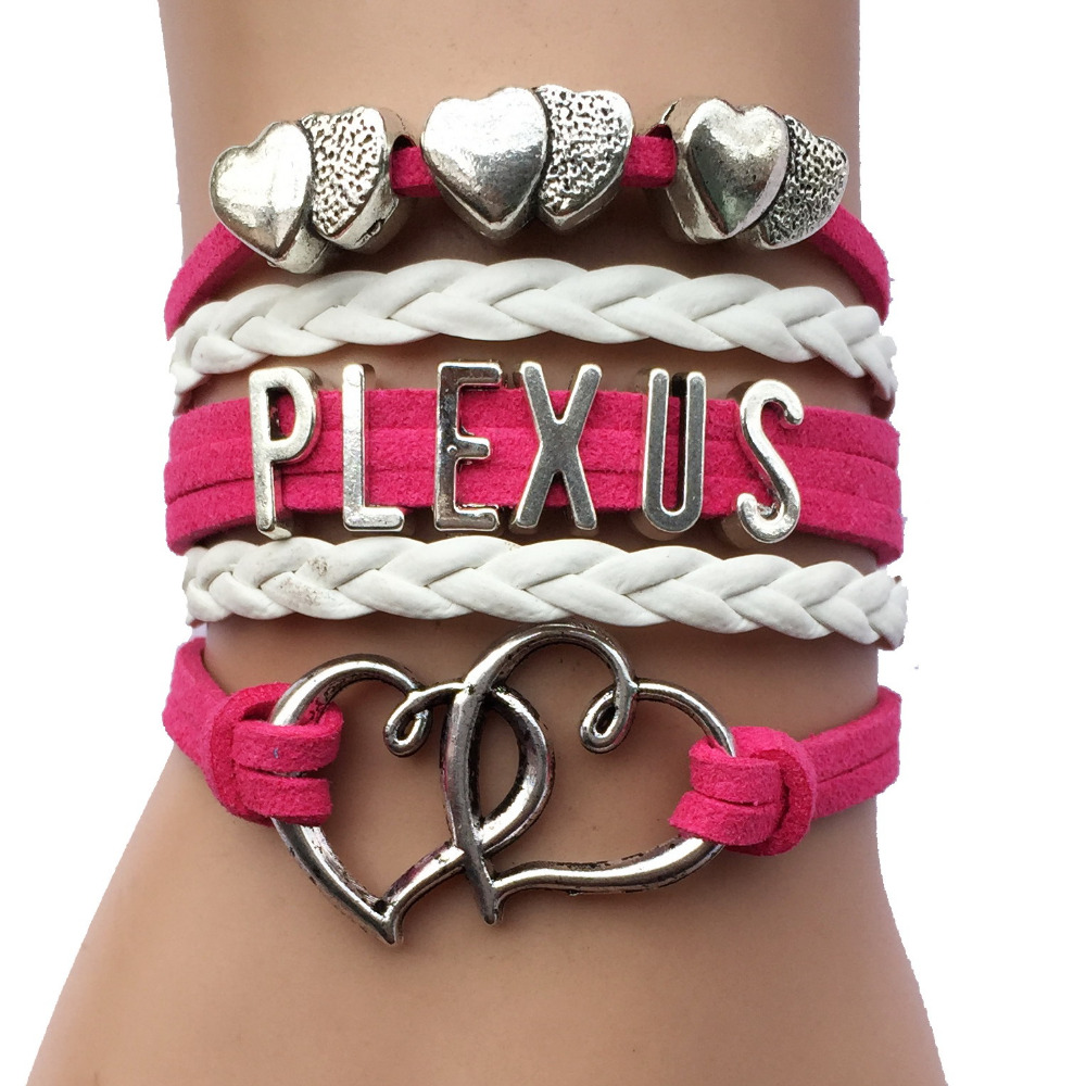 Drop Shipping Fuchsia Velvet Double Heart Charm Plexus Handmade Wrap Bracelet- Custom Cosmetics Gift ...