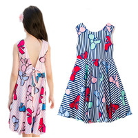 4 to 14 years kids & teenager big girls summer flower print deep V-back striped casual beach dress children vacation dress