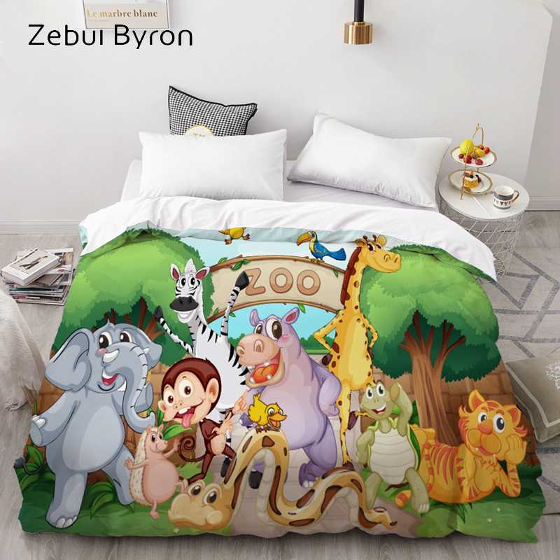 3D HD Custom Duvet Cover,Comforter/Quilt/Blanket case Animal zoo,Cartoon Bedding 140x200/200x200 for Baby/Kids/Child/Boy/Girl