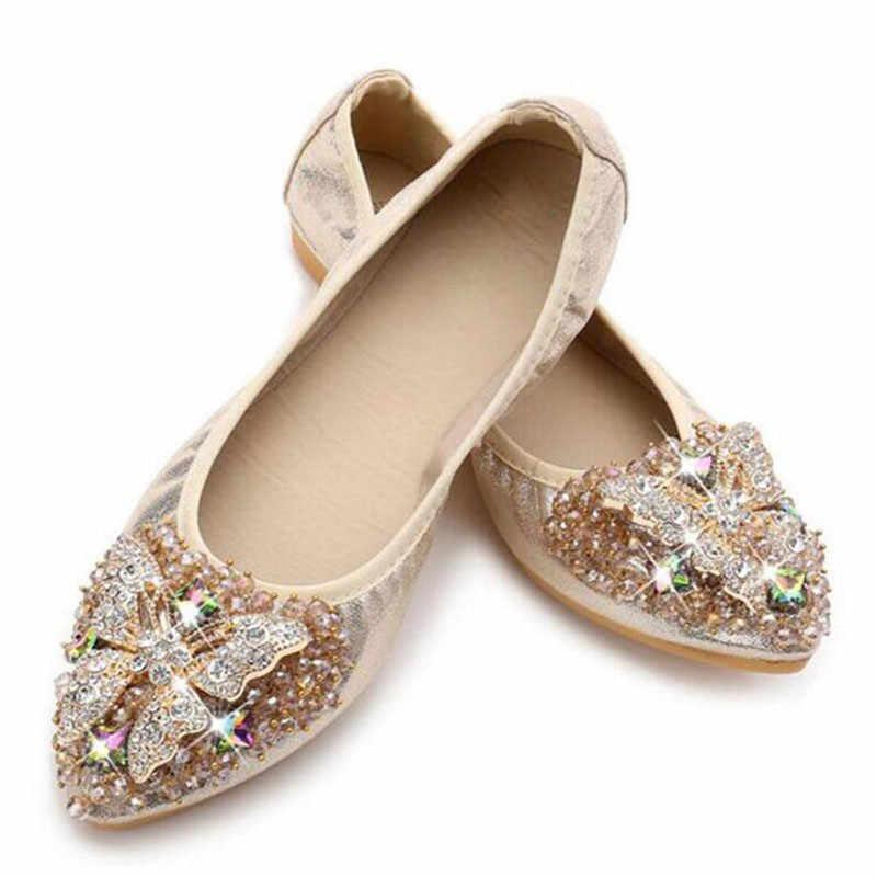 TIMETANG Frauen Bling Tuch Spitz Ballett Wohnungen Frühling/Herbst Weibliche Marke Neue Kristall Slip-On Casual Schuhe