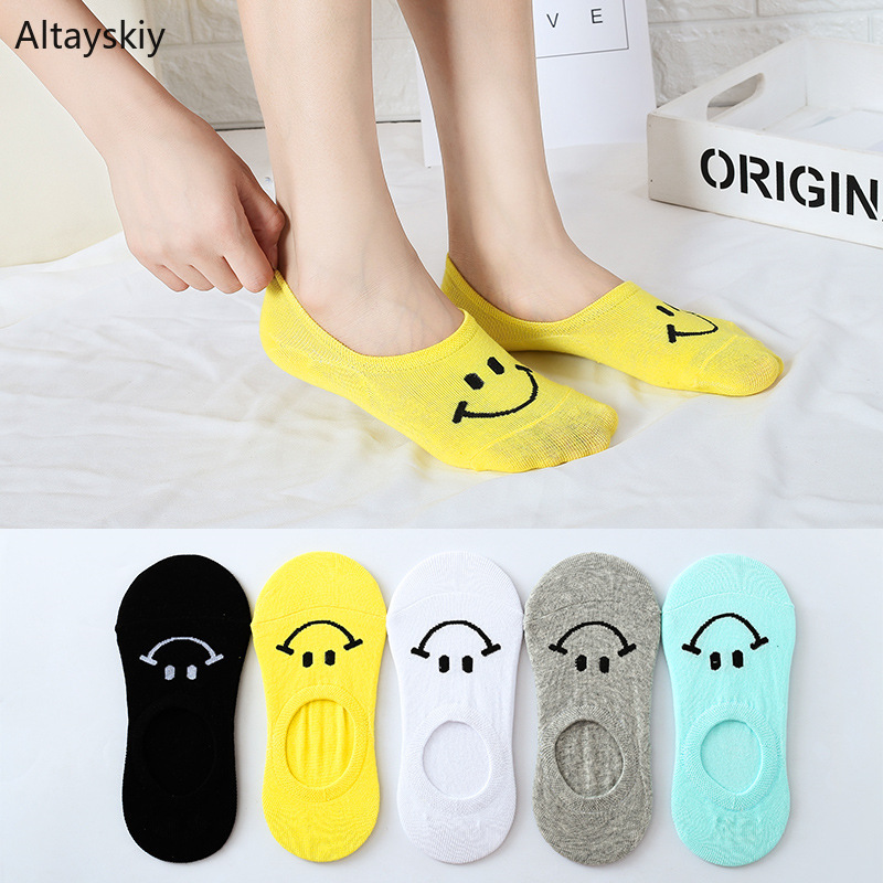 Sock Slippers Women Solid Cartoon Smile Printed Invisible Cotton Silicone Anti-skid Womens Sock Kawaii All-match Trendy Stretchy hockey sock