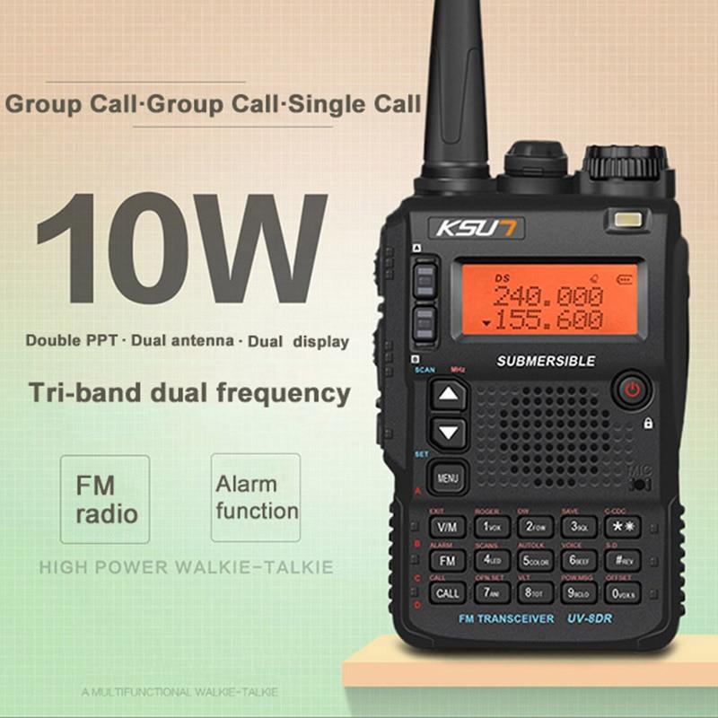 KSUN X-8DR 10W Tri-band Dual Antenna Dual PPT Waterproof Handheld Professional Walkie Talkie