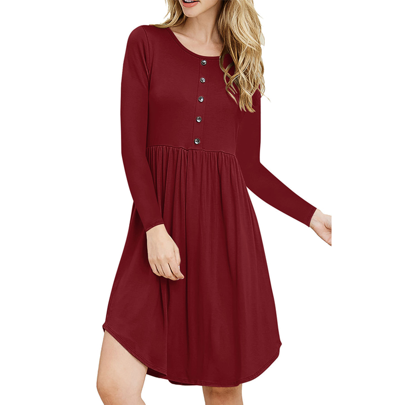Women Autumn Dress Round Neck Long Sleeves High Waist Button Slim Fit Pullover Dresses -MX8